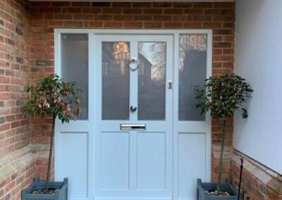 white entrance front door